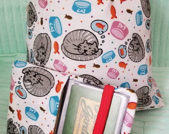 Cats Drawsting pouch / fabric wallet set