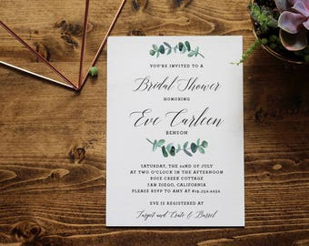 Greenery Bridal Shower Invitation | Eucalyptus Watercolor | Customized Printable Invitation