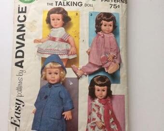 Advance 2898 Chatty Cathy Doll Patterns