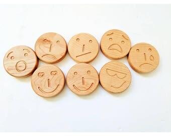 Emotion stones - Wooden emoticon discs - Emoticon faces - autism - sensory toys - tactile emotions - Christmas gift - stocking stuffers