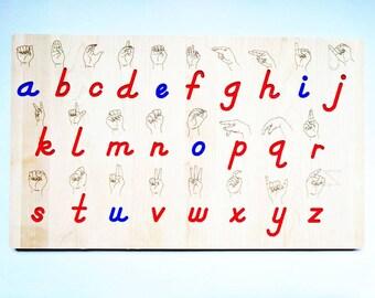 Wooden Sign language board - ASL alphabet - ASL gift - Christmas gift - alphabet board - Montessori - Waldorf toys