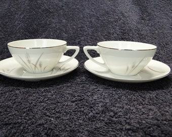 TWO Fine China of Japan Platinum Wheat Tea Cup Saucer Sets 2 EXCELLENT!