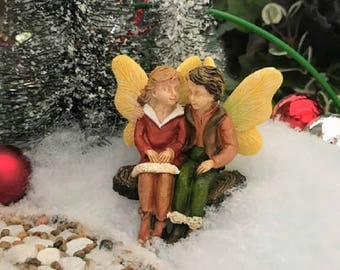 Miniature Winter Fairy Girl and Fairy Boy