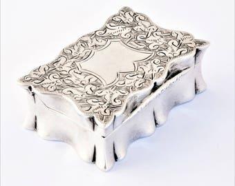Victorian Antique Silver Snuff Box 1898