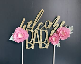 Baby Shower Cake Topper, Welcome Baby Cake Topper, Gender Reveal Cake Topper, Oh Baby Cake Topper, Gold Baby Shower Cake Topper, It's a Girl