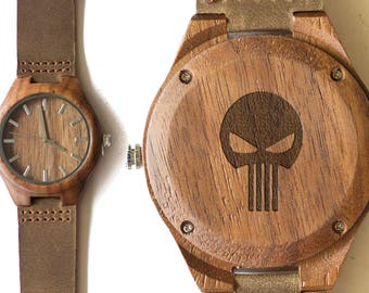 The Punisher. Frank Castle. Marines. Army. Soldiers. Marvel. Engraved Wood Watch. Engraved Caseback Watch. Marvel Universe. Comic Book Heros