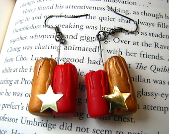 Gryffindor House Inspired Candle Earrings-Courage and Bravery-Wizarding Houses-Earrings-OOAK
