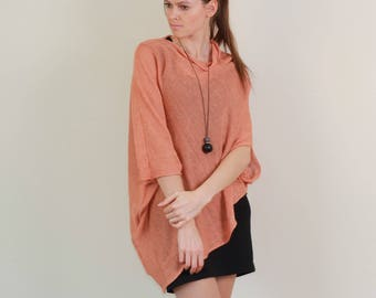 Knitted linen sweater, linen wrap top, linen cape, Summer poncho women, pure linen poncho, pregnancy sweater, pregnancy clothes, knitted top