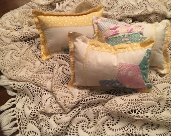 Yellow Dresden Quilted Pillow/ Tattered Quilted Pillow / Newborn Posing Pillow