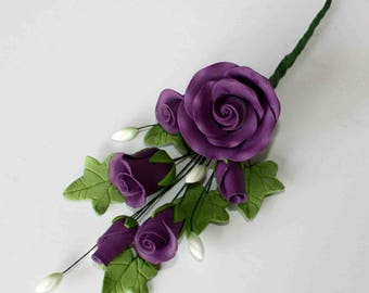 Tea Rose Spray, Small PURPLE Sugar Flowers Cake Topper
