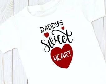 Childrens Valentines Tshirt, Daddy's Little Girl Tshirt, Valentines Tshirt, Free Shipping