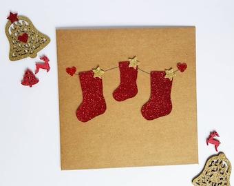 Family Christmas Stockings, Christmas Card, Family Christmas Card, Christmas Stockings, Christmas Glitter, Paper Cut Stockings, Kraft Cards