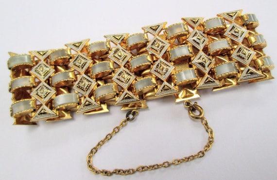 Very good quality vintage wide Damascene gold metal bracelet