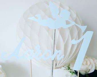 Décoration gâteau -prénom + age + ange en papier pailleté bleu ciel- anniversaire