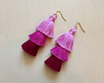 Handmade Ombré Magenta Tiered Tassel Earrings, Fringe Tassel Earrings, Stacked Tassel Valentine's Day earrings