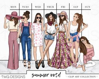Fashion Girl Clip Art Bundle Watercolor Clipart PNG Hand Drawn Illustration Set Outfit Summer Style Planner Sticker Artwork Mauve Denim OOTD