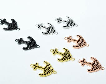 Anchor Micro Pave Cubic Zirconia CZ Rhinestone Connector Beads Connector High Quality 4 Colors