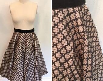 1950's circle skirt / 50's vintage circle skirt  / vintage lurex velvet circle skirts with soutache