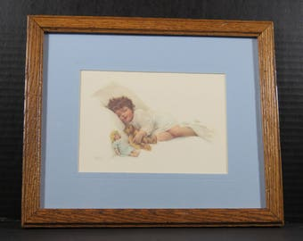 "Framed Bessie Peace Gutmann  Lithograph ""The New Love"" Signed Matted Sleeping Girl Infant Baby Child Teddy Bear Doll Nursery Baby"