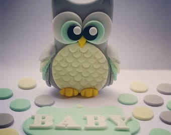 Owl cake topper set. Fondant handmade  baby shower Birthday Party diy cake toppers - can.be made in other colours