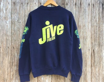Rare!! Vintage Fresh Jive Sweatshirt Jumper Pullover Nice Design Logo Fresh Jive On Sleeve Medium size