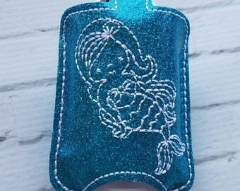 Blue Little Girl Mermaid Hand Sanitizer Holder