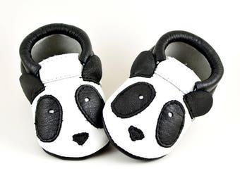 Panda Moccs | Baby Moccasins | Baby Moccs | Handmade Moccasins | Genuine Leather Moccs | Newborn Moccs | Baby Shower Gift | Black White