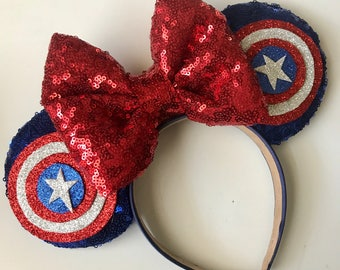 Captain america inspired mouse ears