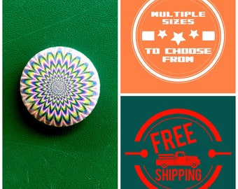 Magic Eye Psychedelic Button Pin or Magnet, FREE SHIPPING & Coupon Codes