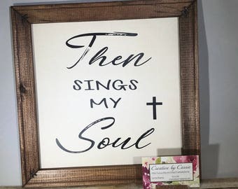 Home Decor sign 12x12 canvas and wood sign religious How Great Thou Art