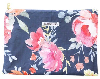 Midnight Floral Bouquet Zippered Wet Bag  | Dark Floral Travel Bag | Navy Cloth Diaper Zip Pouch |  Water-Resistant Swimsuit Bag | PUL Bag