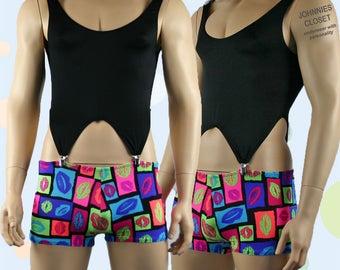 Mens Corset Top and Kiss Print Hot Shorts