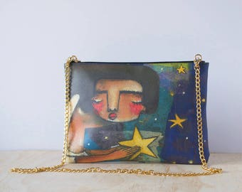 Eco-friendly Leather Clutch, 'Put My Own Star' by ChiarArtIllustration