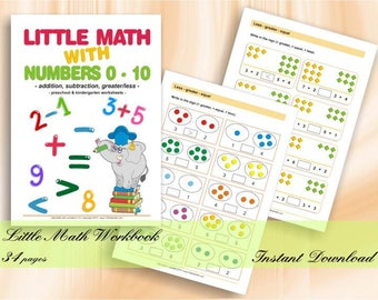 Little Math with Numbers 0-10 - Preschool & Kindergarten Math Worksheets | Download Digital Printable Workbook