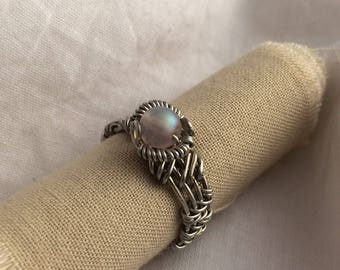 Czech Glass & Silver Plated Wire Ring