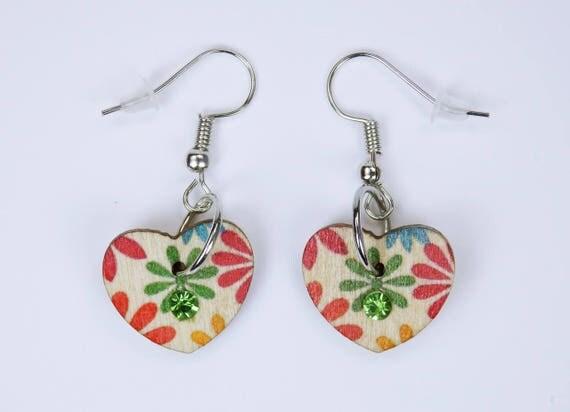 Earrings heart with flowers in red green and green rhinestones on silvery earrings wooden pendant earrings jewelry Oktoberfest Dirndl Yellow