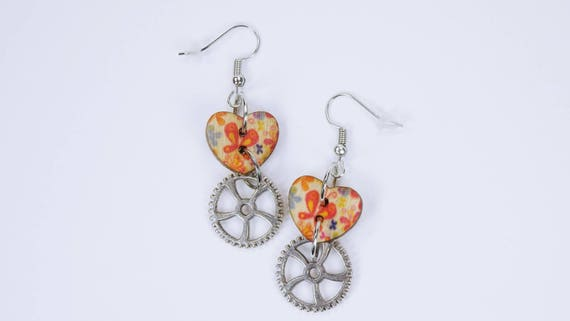 Earrings gears and colorful heart-hearts on silver-colored earrings wooden pendant earrings-hearts with colourful flowers and butterfly