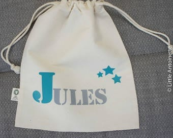 Customizable name kids organic cotton with stars pouch bag