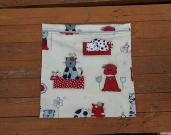 Dog Puppy Cat Pussy Fabric Mega Poppins Waterproof Lined Zip Pouch - Sandwich bag - Eco - Snack Bag - Bikini Bag - Lunch Bag - Swim Bag