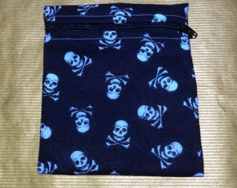 Black With White Skull Small  Poppins Waterproof Lined Zip Pouch - Sandwich bag - Eco - Snack Bag - Bikini Bag - Lunch Bag - Make Up Bag