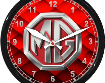 "12"" MG Wall Clock Garage Work Shop Gift Father's Day Man Cave Rec Room"