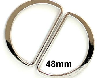 Extra Large Silver D-Rings / Bag Hardware / D Shape Ring / Dee Ring / Metal D-Rings / Strap Hardware / 48mm D-Ring / SET of TWO