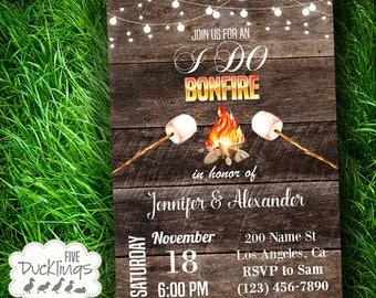 I do Bonfire Invitation, Bonfire party Invite, Rustic wedding invite, Printable Digital Invitation, A264-533