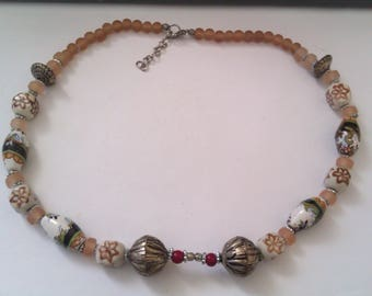 ceramic, glass and metal bead necklace