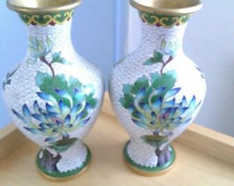vintage mirror image cloisonne vases