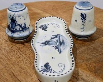 Vintage Delft Salt and Pepper Set