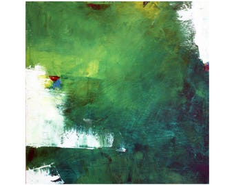 Greens White abstract mid century modern oil painting Atomic Ranch contemporary 12 x 12 small square art Dallas artist Paul Ashby MCM