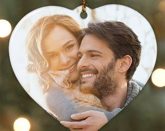 Heart-Shaped Photo Ornament - Custom Ornaments - Personalized Tree Ornament - Christmas gift - Couples gifts - Holiday Gifts - Family gift