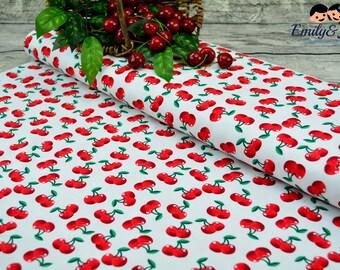 Cotton CHERRY LOVE white red