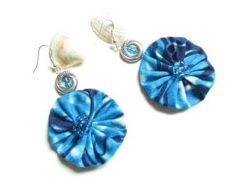 Blue earrings, Stud Earrings fabric earrings African earrings